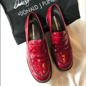 Donald Pliner Red Croc Print Leather Loafers
